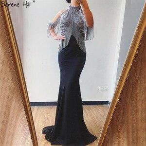 Image 3 - Serene Hill czarna syrenka Sexy Jersey suknie wieczorowe suknie 2020 luksusowe koralikowe frędzelki eleganckie dla kobiet Party LA70346