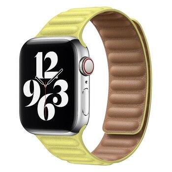 Correa para Apple watch 6 banda 44mm 40mm iWatch bandas 42mm 38mm correa magnética de cuero para series 6 5 4 3 2 SE
