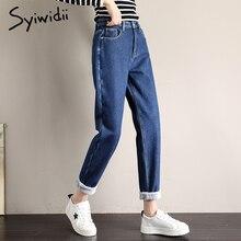 Флисовые женские джинсы с высокой талией, штаны-шаровары, теплый уличный стиль, джинсы для мам, бархатные, черные, синие, бежевые размера плюс джинсы для женщин в стиле бойфренд