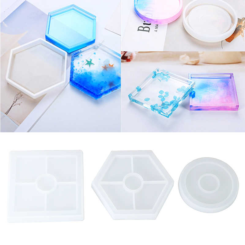 Coaster Cup Mat Mold Round //Square Silicone Mould DIY Epoxy Resin Casting