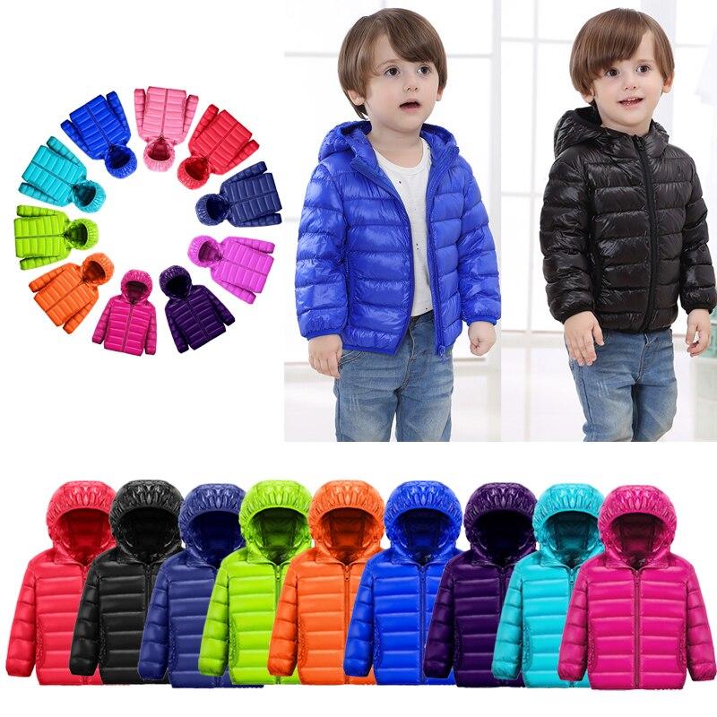 Куртка на утином пуху для мальчиков и девочек, ультралегкое пальто на молнии с капюшоном, теплая зимняя детская верхняя одежда, куртки, детс...