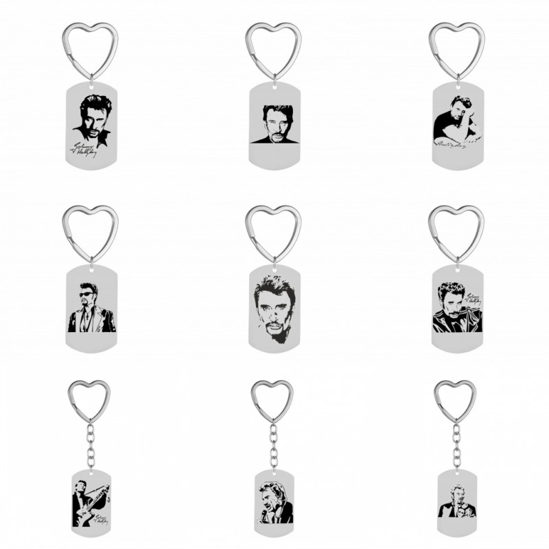 Personalized Photo Key Chain Ring Punk Rock Johnny Hallyday Photo Pendant Stainless Steel Heart Keychain Female Male Jewelry New