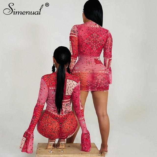 Simenual Deep V Neck Paisley Print Party Dresses Drawstring Mesh Flare Long Sleeve Transparent Club Outfit For Women Mini Dress 5