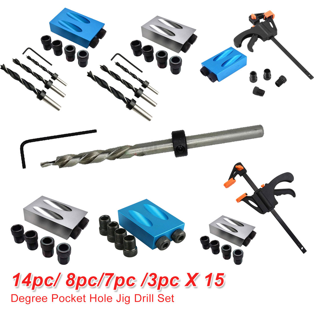 Pocket Hole Jig Drill 14pc/ 8pc/7pc /3pc 6mm 8mm 10mm Drill Guide Back Dowel Jig Kit Wood Drill For Woodworking Jointing