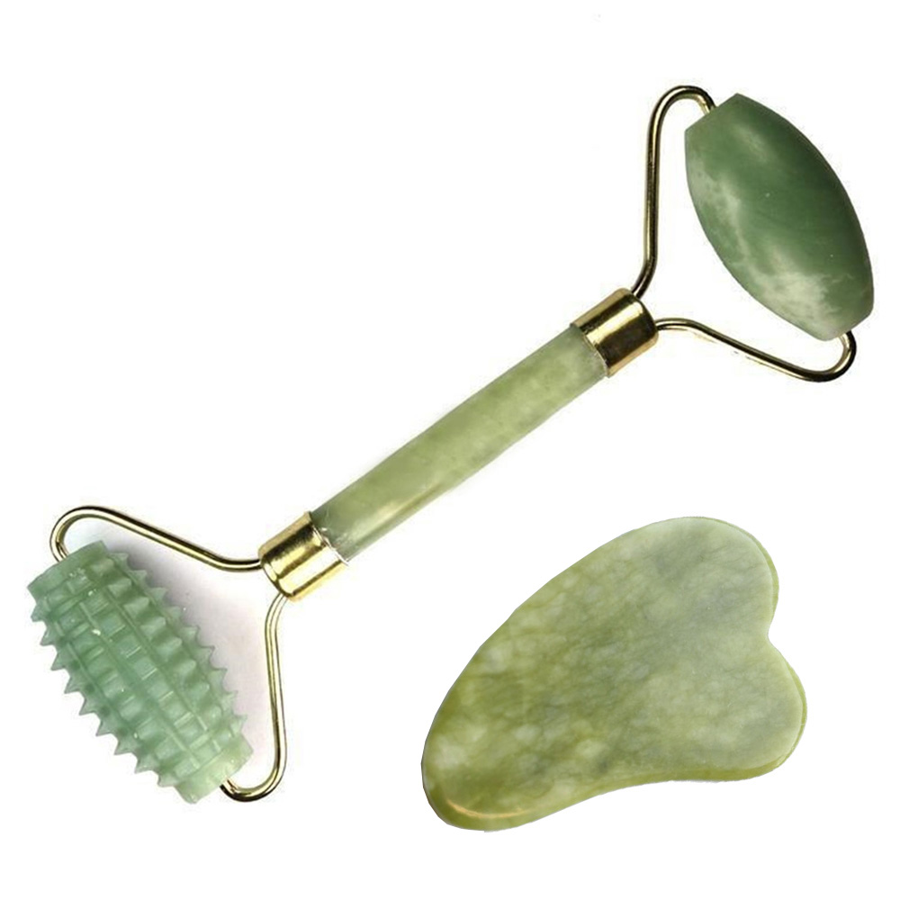 Natural Jade Roller For Face And Gua Sha Massage Tool Set Therapy Facial Roller With Double Neck Slimming Massager
