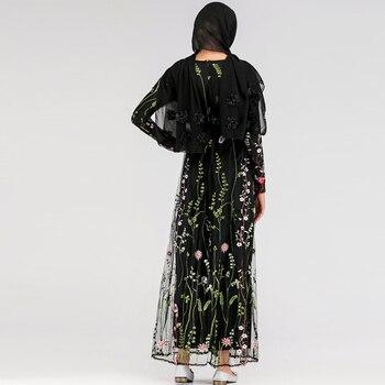 Pakistani Arabic Muslim Hijab Floral Dress Abaya Dubai Turkey Dresses Caftan Marocain Kaftan Qatar Islamic Abayas Women Vestidos