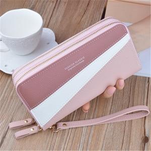 New Zipper Ladies Long Hand Bag Korean Version Spliced Contrast Color Large Capacity Double Wallet Mobile Phone Ba