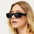 COOYOUNG 2020 Rechteck Sonnenbrille Frauen Marke Designer Engen Rahmen Brille Rosa Leopard Smalll Sonnenbrille
