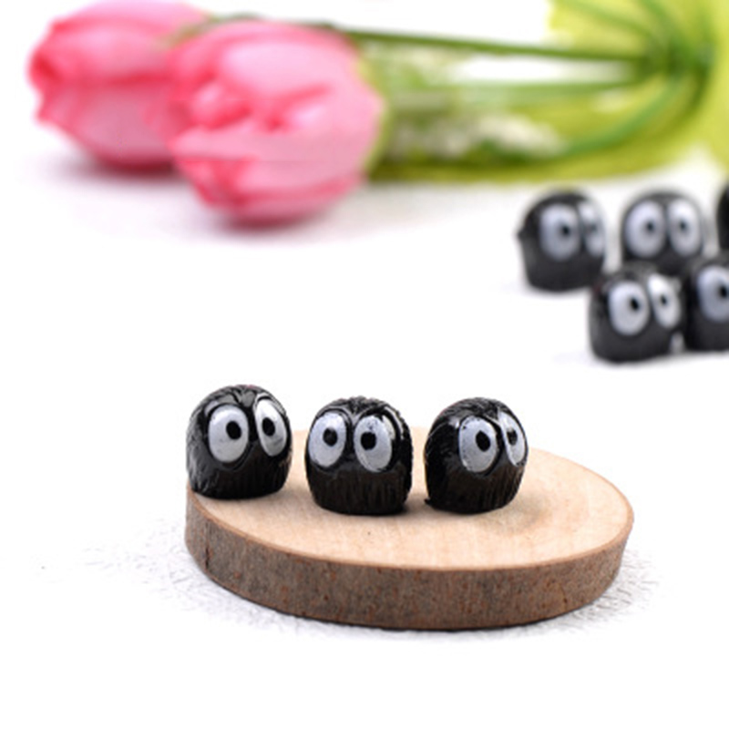 Lovely Black Coal Ball Small Statue Moss Doll Toy Child Play House Figurine Court Germ Army Simulation Garden Ornament