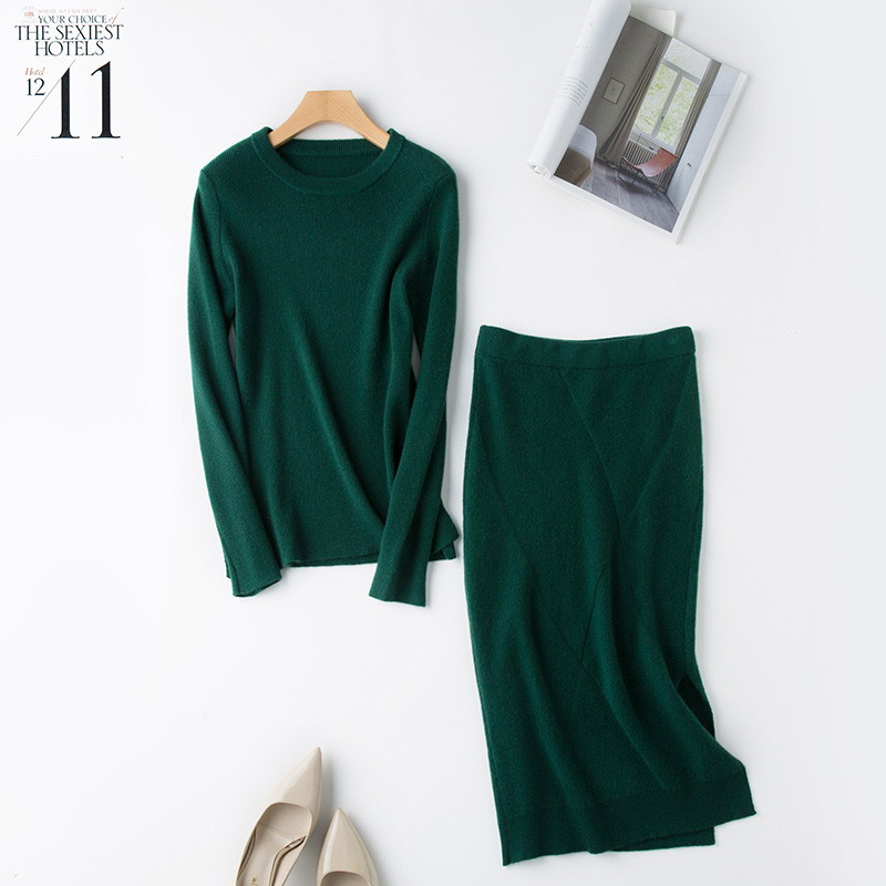 Image 3 - 2 Pieces Sets 100 Cashmere Women O neck Pullover and Skirt Sets Knit Solid Slit Skirt 2019 Winter Sweater Soft Knitwear Sweaters-in Women's Sets from Women's Clothing