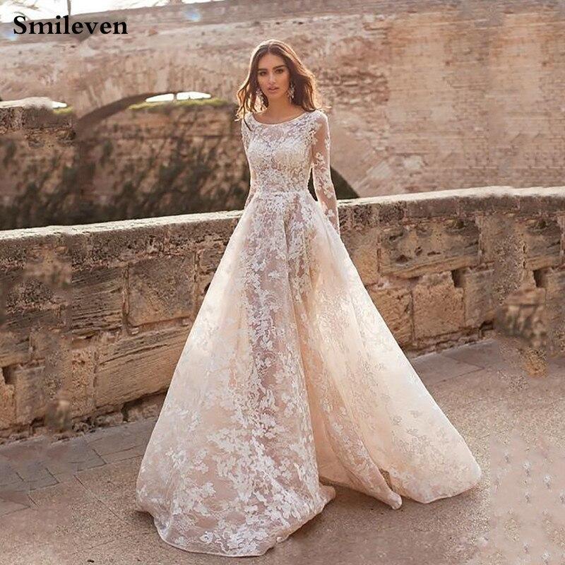 Smileven Champagne Princess Wedding Dresses Long Sleeve Lace Bride Dresses Appliqued Lace Boho Wedding Gowns Custom Made