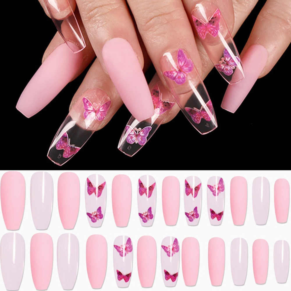 24pcs Coffin Ballerina Fake Nail Butterfly Pattern Nail Tips Full Cover French Long Stiletto Press On Nail Acrylic Manicure Tool