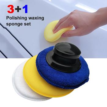 High-Density 3+1 Polishing Waxing Sponge Set Microfiber Anti-Scratch Car Care Cleaning Polishing Sponge with Handle Waxing Pad image