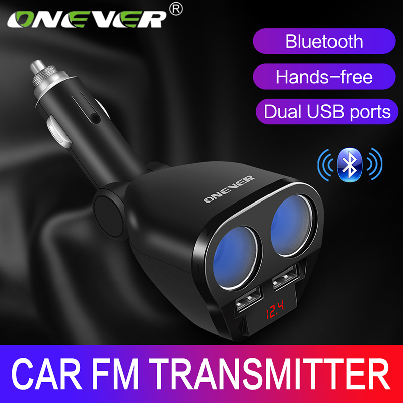 Onever 5V/3.4 A 120W Car Cigarette Lighter Socket Splitter Hub Power Adapter With Dual USB Charger Car Kits DVR GPS MP3 12V-24V