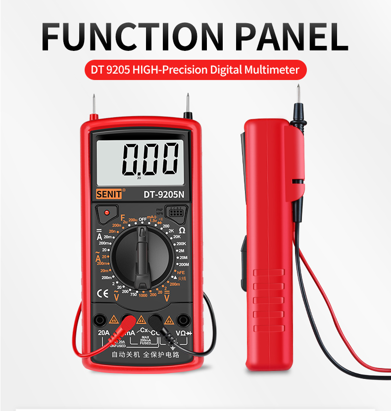Industrial Tool DT-9205N Digital Multimeter,AC/DC Transistor Voltage, resistance,hFE Tester,NCV, Electrical Voltage Meter Tester