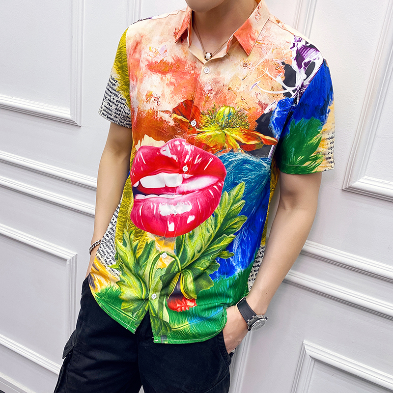 2020 Men's Fashion Flower Print Hawaiian Shirts Casual Streetwear Short Sleeve Loose Beach Holiday Party Shirt Camisa Masculina