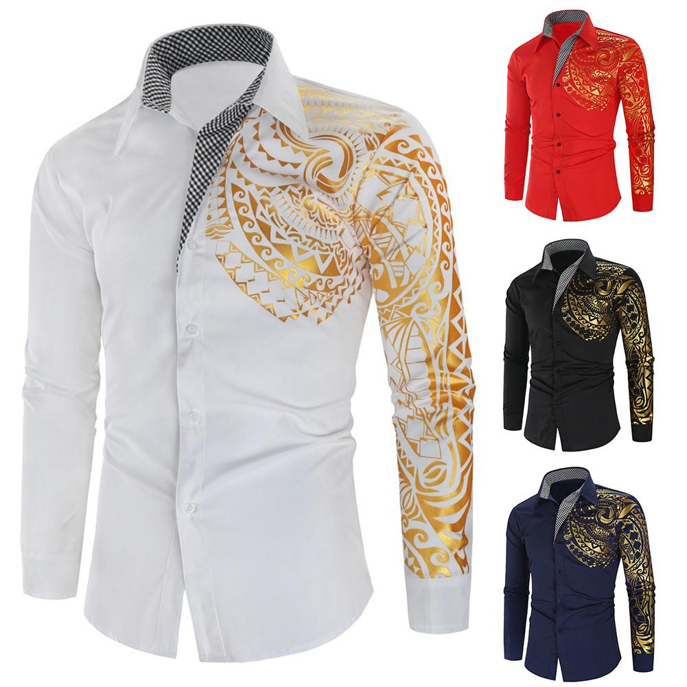 Stylish Men Hot Stamping Totem Print Turn Down Collar Buttons Shirt Top Christmas Gifts Robe Longue Soiree Hawaii Shirt New
