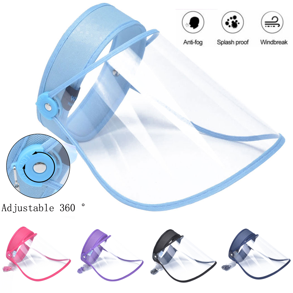 Unisex Removable Anti-fog Dust Empty Top Cap Clear Full Face Shield Mask Hat Cap CLEAR FLIP-UP VISOR