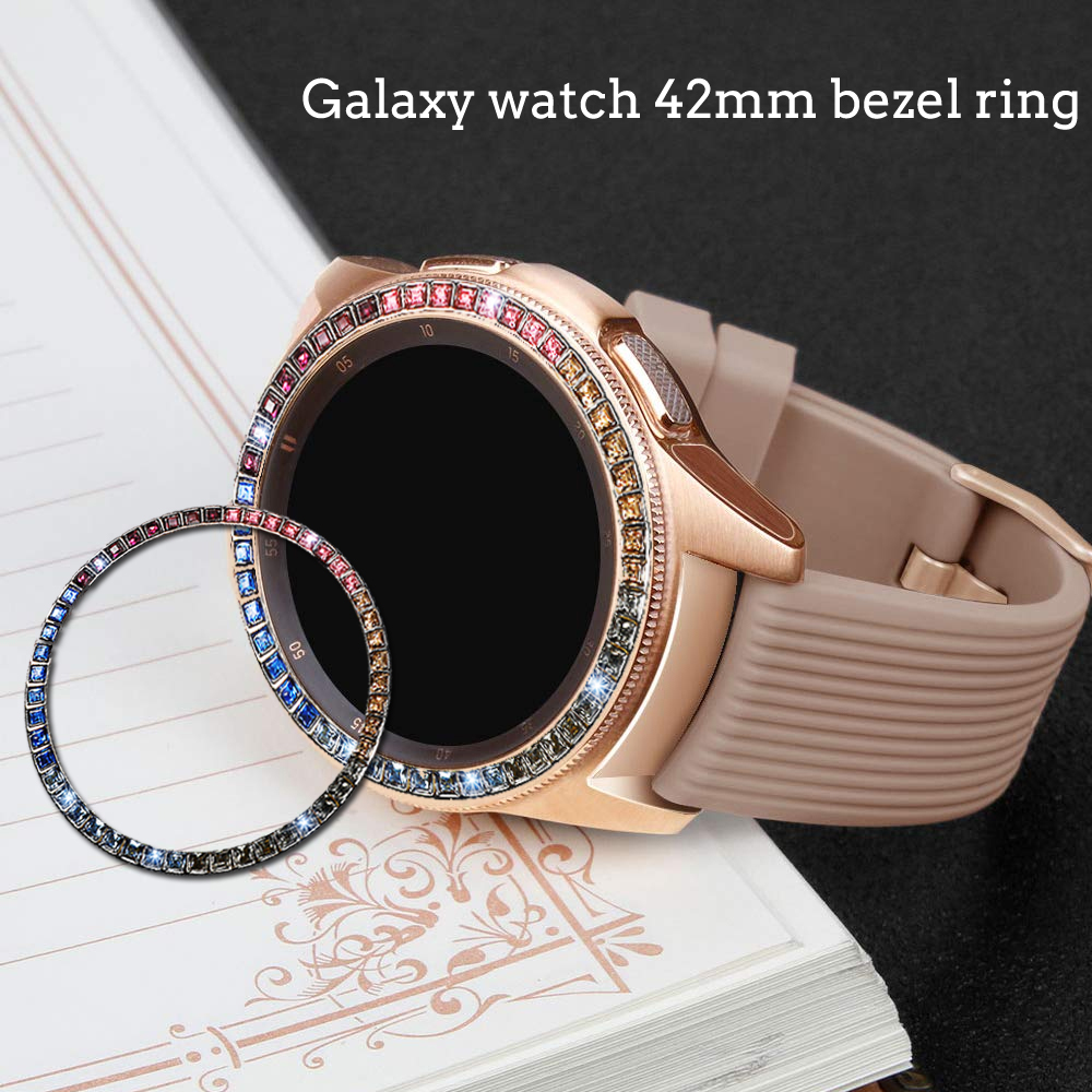 Diamond Bezel Ring For Samsung Galaxy Watch 42mm Protector Case Cover Sport Fashion Adhesive Metal Bumper Accessories Galaxy 42