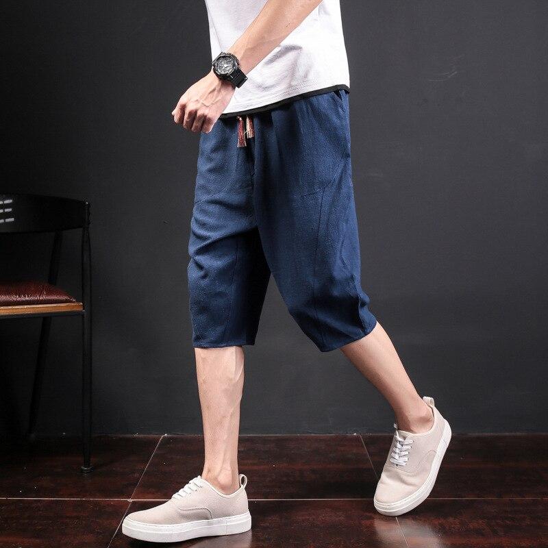 Summer Shorts Men's Flax Thin Harem Pants Korean-style Capri Pants Loose And Plus-sized Casual Cotton Linen Men's Trousers