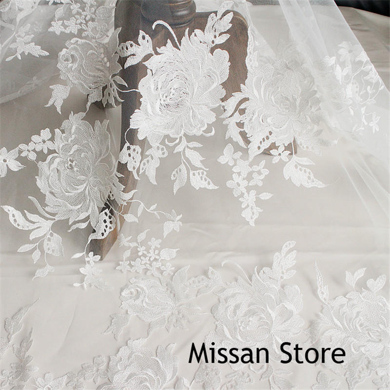Ivory Lace Fabric Luxury Wedding Lace Fabric Thin Leaves Lace Applique Wedding Fabric