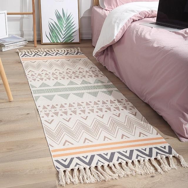 Geometric patterns Long Retro Carpet For Sofa Living Room Bedroom Rug Mat Bohemian Cotton Tassels Yarn Dyed Tapestry Home Decor