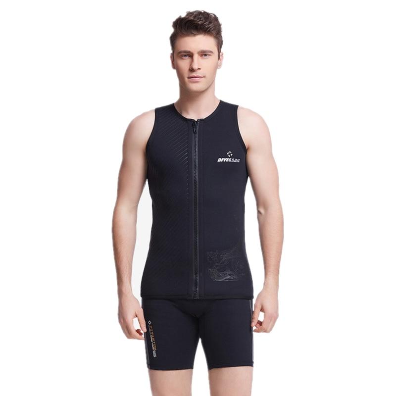 Colete para Mergulho com Zíper Frontal e sem Mangas Traje de Terno Masculino de 3mm para Mergulho Macacão