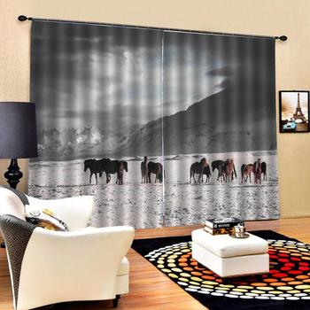 grey curtains photo Blackout Window Drapes Luxury 3D Curtains For Living room Bed room Office Hotel Home horse curtain
