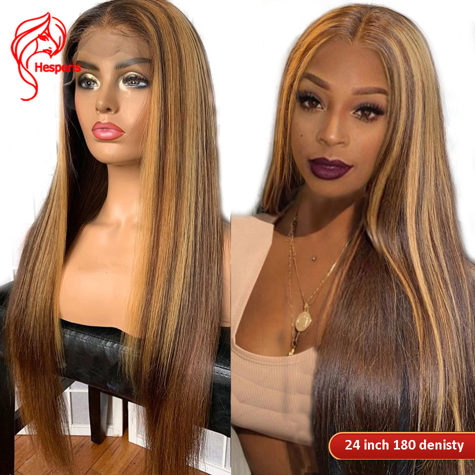 Wig Highlight Blonde Human-Hair Lace-Front Hesperis Remy-Colored 360-Lace Brazilian Pre-Plucked13x6