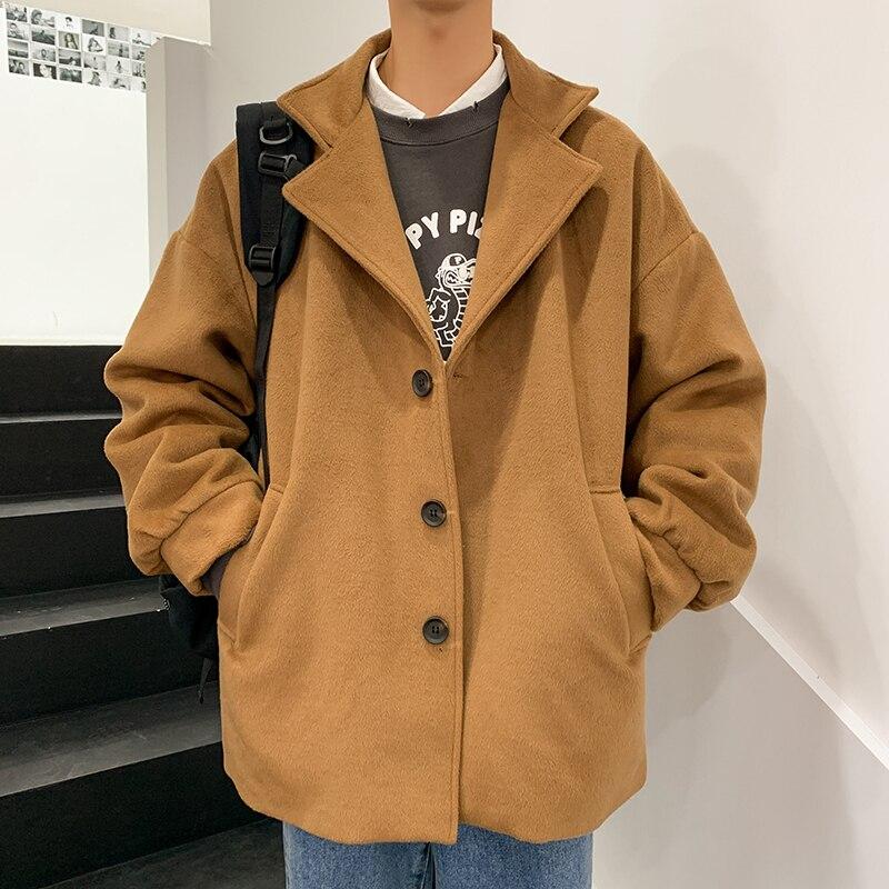 Зимнее толстое хлопковое шерстяное пальто, Мужская модная однотонная повседневная шерстяная куртка, Мужская Уличная свободная британская