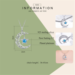 Image 2 - New Romantic 925 Sterling Silver Sparkling Moon And Star Necklaces Pendants for Women Fashion Necklace Jewelry Gift SCN278