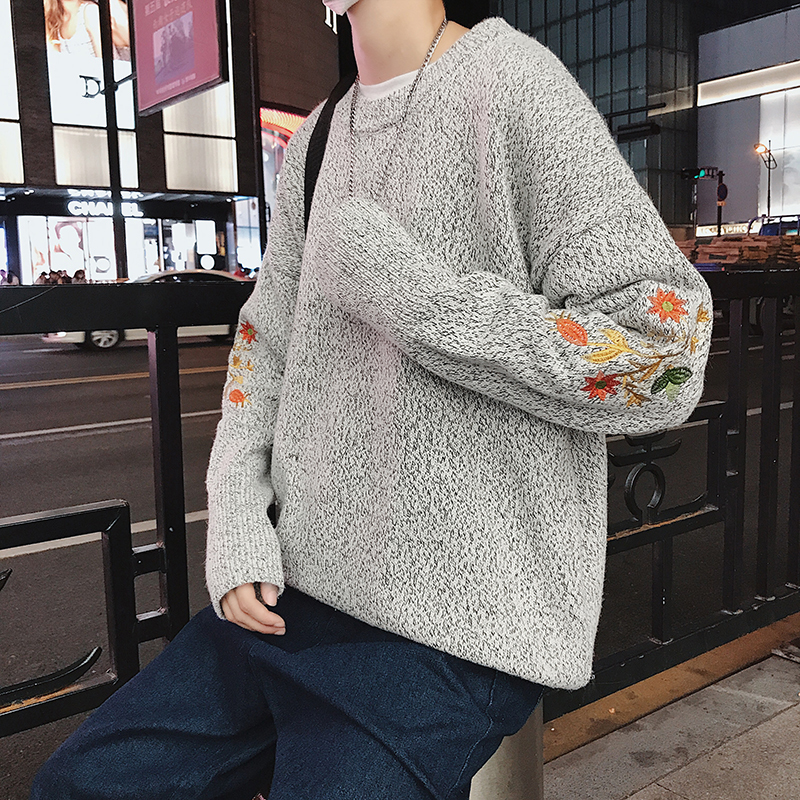 Winter Sweater Men Warm Fashion Flower Embroidery Casual Knit Pullover Men Knitting Sweaters Wild Loose Sweter Clothes Male