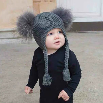 New Autumn Winter Baby Kids Beanie 15 cm Real Fur Pompom Hat For Children Warm Wool Knitted Earflap Cap men and women children s woolen hats knitted thickened baby beanie new fake fur ball removable leisure outdoors warm winter cap