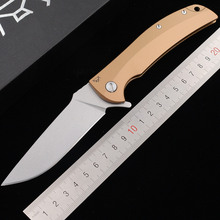 With BearLogo Overkill ball bearing D2 blade Steel handle Pocket outdoor Survival kitchen EDC Tool folding hunting camping knife