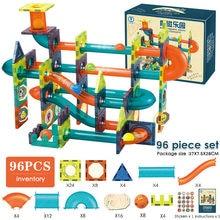 96 pçs folha magnética blocos de construção funil slide bola blocos magnéticos labirinto bola pista blocos brinquedos educativos para crianças presente