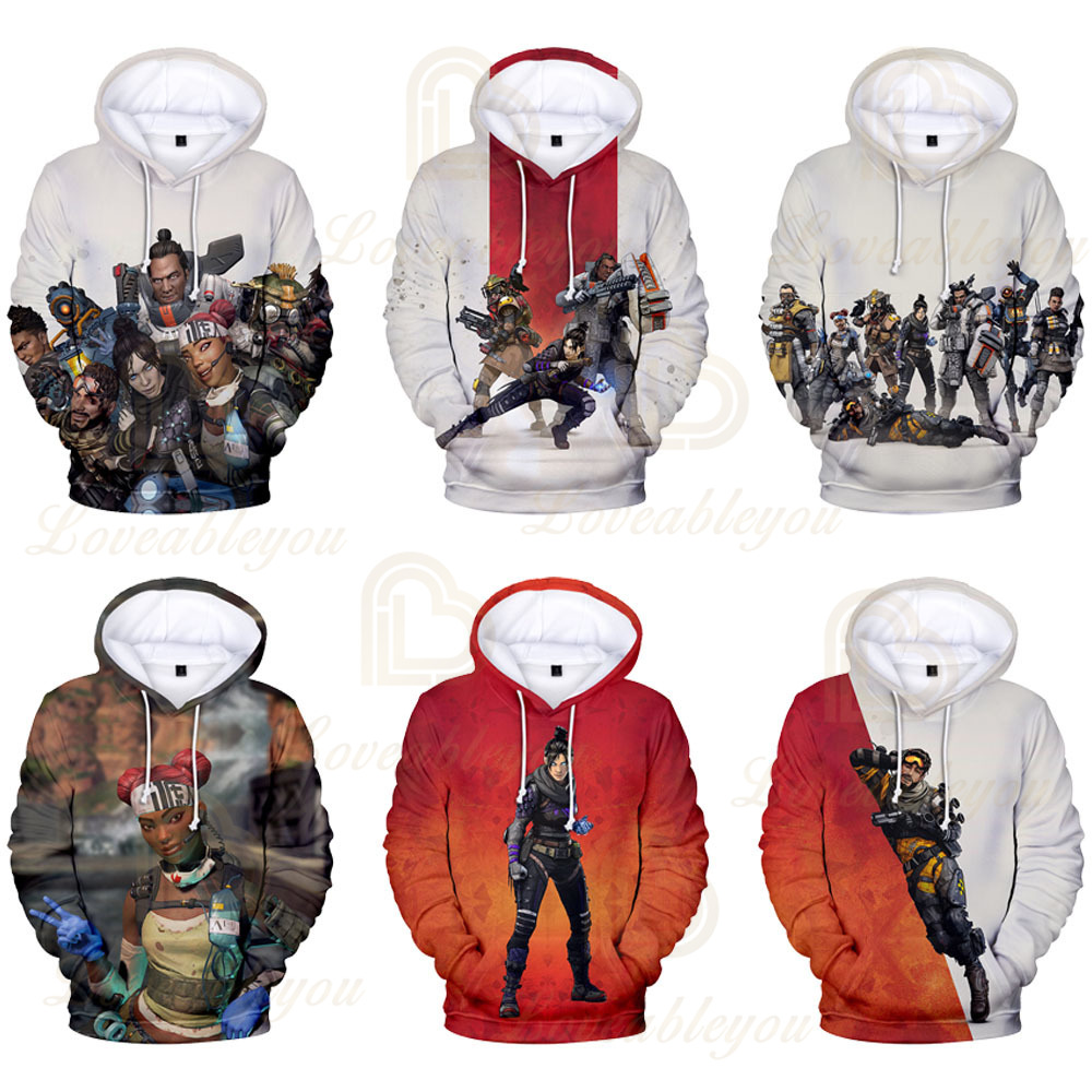 2019 HOT Electronic Games Apex Legends 3D Print Cosplay Hoodies Long Sleeves Pulover Hooded Clothes For Men Women Kids Costume