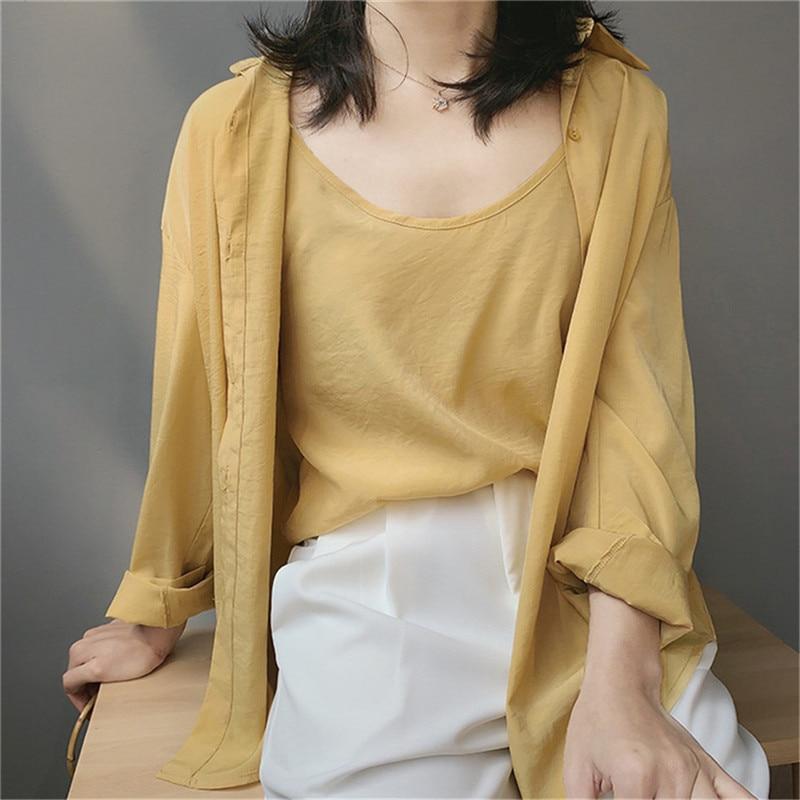 High quality 2pcs Women Blouse Shirt 2020 Summer Solid All match Satin Blouses Shirts Femal Blouse+halter tops Z1082 (36)