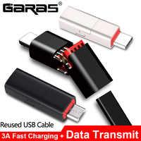 GARAS reutilizado Cable USB para iPhone/Micro USB/Tipo C rápido Cable de datos del cargador para iPhone/iPad/Xiaomi/Huawei reutilizable USB Cable USB 1,5 m