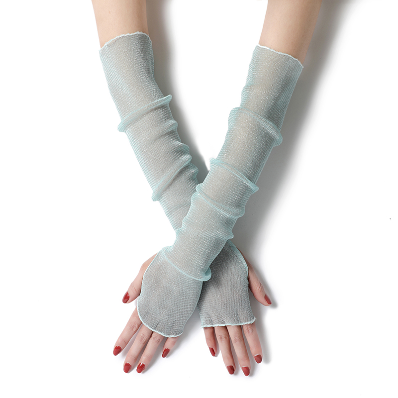 Summer Fashion Lady Gauze Sun Protection Sleeves Gloves Women Thin Long Fingerless Arm Warmers Sunscreen Uv Breathable Mittens