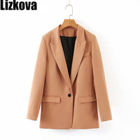 Fall 2019 Coats Women Vintage Solid Color Blazer Chic Single Button Loose Jacket Official wear