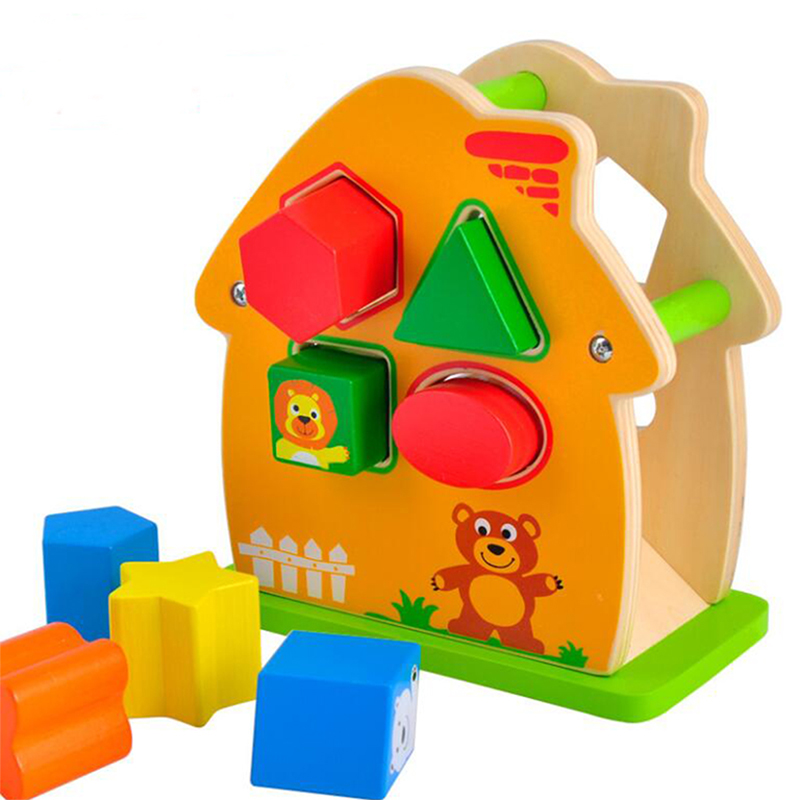 Wooden House Toys Children Learning Education Intelligence Toys Geometric Cognition Matching Puzzle Popular Toy Puzzle Games