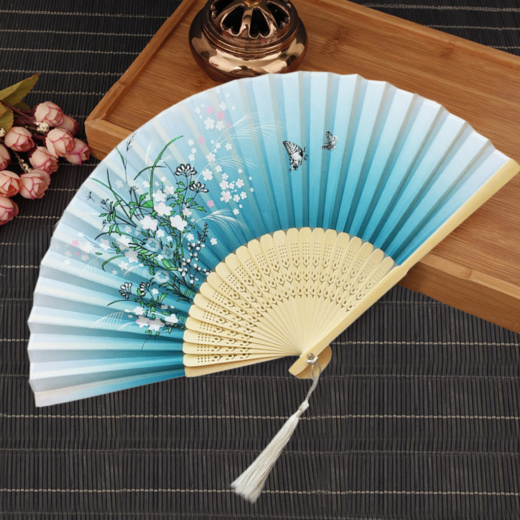 Traditional Chinese Fans Hand Held Fans Paper Bamboo Folding Fans Handheld Folded Fan For Church Wedding Hand Holding Fans Decor