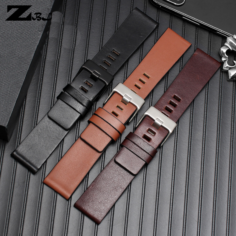 Genuine Leather Watchband Wrist Watch Bracelet 22 24 26 28 30mm Wristwatches Band For Diesel DZ7313|DZ7322|DZ7257 Watch Strap
