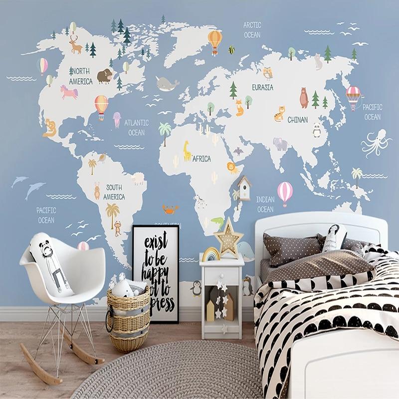 Custom 3D Photo Wallpaper Wall Painting Cartoon World Map Children Room Bedroom Wall Home Decoration Non-woven Wallpaper Murals