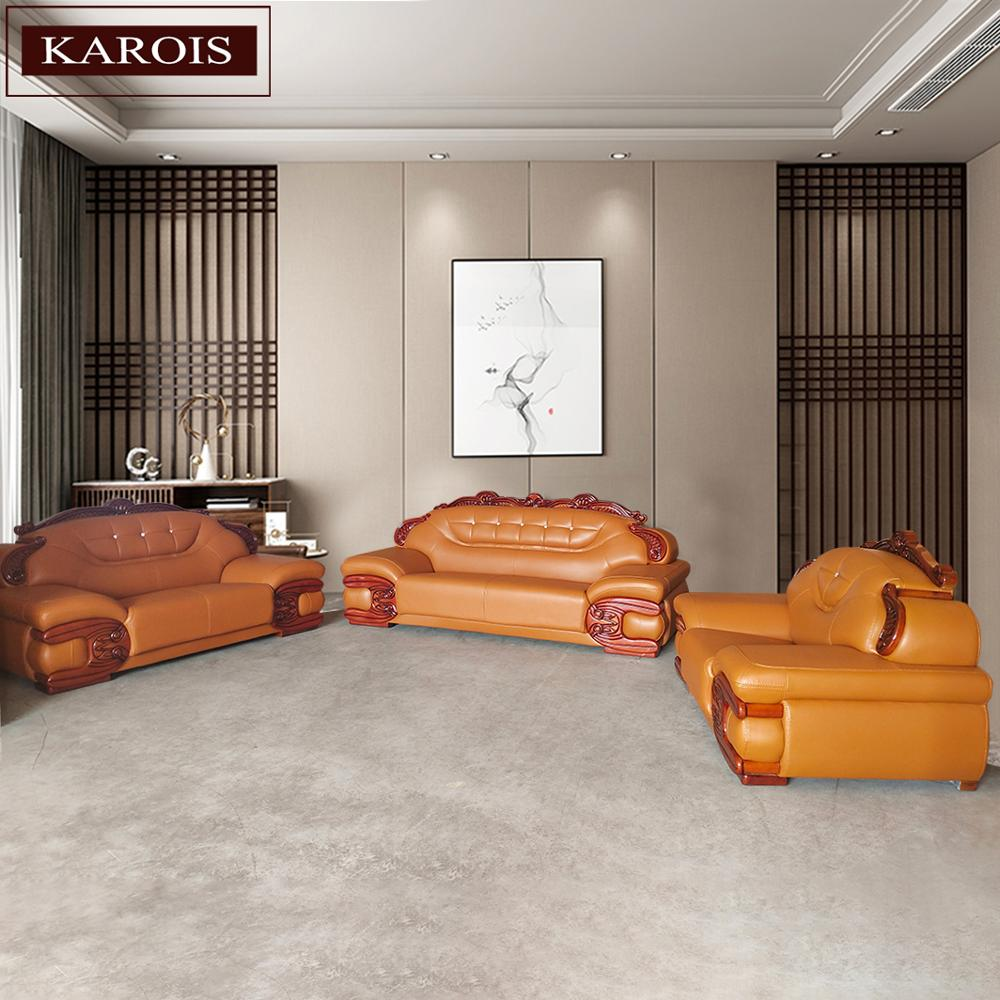 Karois a996 combinação de sofá estilo europeu simples luxo sofá de madeira maciça sala estar mobiliário sofá couro