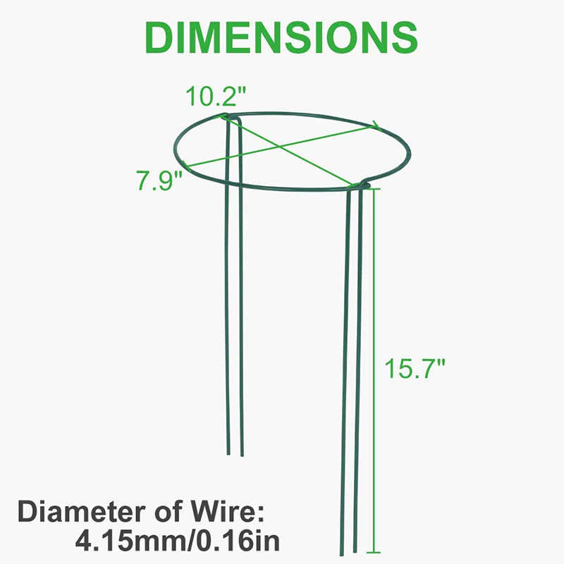 Metal Garden Border Supports Dasing 12 Packs 15.7 Inches Half Round Garden Plant Support Ring with 15 Pcs Plant Labels