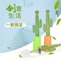 Creative cactus toilet brush set cartoon home toilet wash toilet brush long handle no dead corner clean brush desert gift CL0315