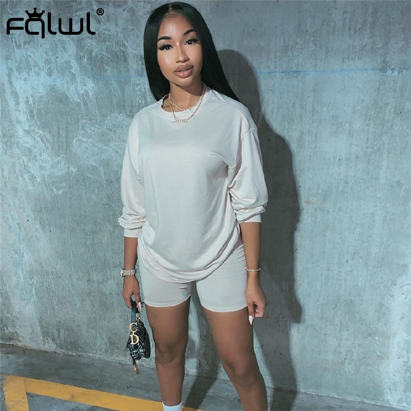 FQLWL Two Piece Set Women Suit Summer Outfits T Shirt Biker Shorts Set Ladies Tracksuit Female Matching Sets Women Sweat Suit