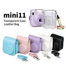 Dla Fujifilm Instax mini11 PU skórzany pokrowiec Smartphone Instant Protector torba typu worek z paskiem na ramię dla Fuji Instax mini11