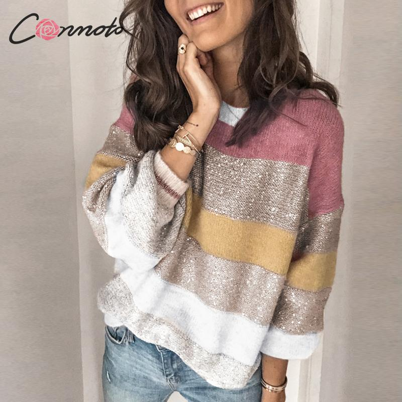 Conmoto Winter Patchwork Harajuku Sweaters Women Loose Plus Size Jumper Sweater Stripe Casual Sweater Jumper Pullovers